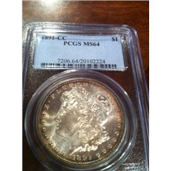 1890 CARSON CITY MORGAN DOLLAR PCGS MS-64