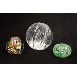 3 crystal paperweights