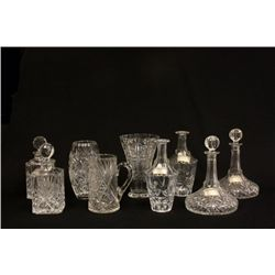Lot of crystal decanters and vases