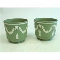 Pair of green Jasperware planters