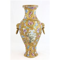 Porcelain vase with gold and floral decoration