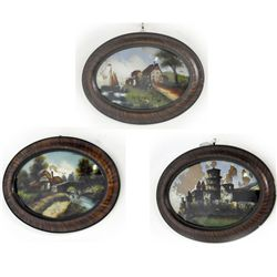 Lot of 3 19th c. reverse painted scenes