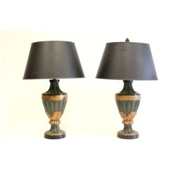 Pair carved wood lamps ca. 1960