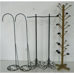 Lot of iron stands & vintage hat rack
