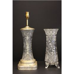 Cut glass vase lamp & cut glass footed vase