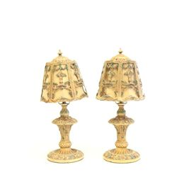 Pair metal boudoir lamps ca. 1920's