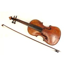 Violin with interior label with bow and case
