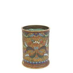 Far Eastern brass & enamel brush pot