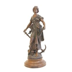 Art Nouveau patinated metal figure  Woman