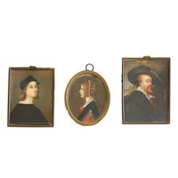 3 miniature portraits on ivory