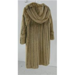 """Wild Rice"" blush cross mink coat with hood"