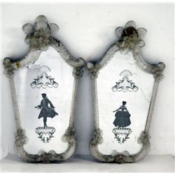 Pair Venetian glass wall mirrors