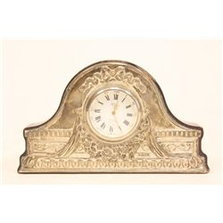 Antique sterling silver & wood cabinet clock
