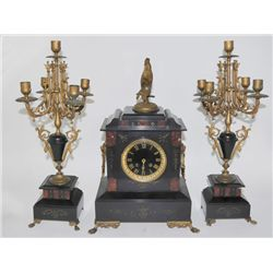3 piece marble & bronze clock set