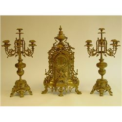 3 piece bronze clock set with 3 arm candelabra