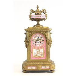 19th c. bronze porcelain clock