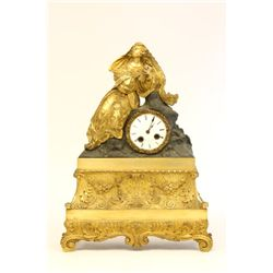 19th c. French bronze clock