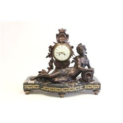 19th c. gilt figural white metal clock