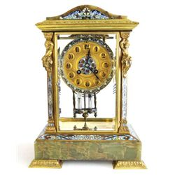 19th c. French enamel and onyx clock