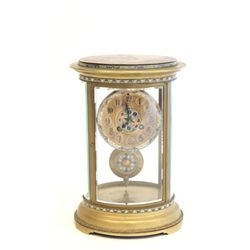 19th c. crystal and enamel regulator clock