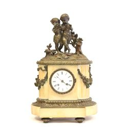 19th c. iron & gilt metal figural mantle clock