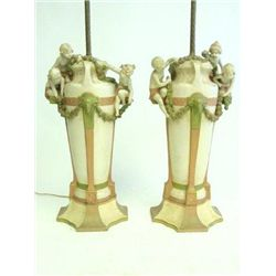 Pair Royal Dux figural vases mounted as lamps