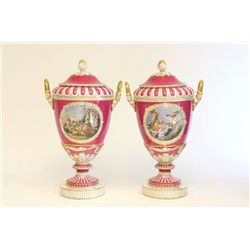 Pair 19th c. Old Berlin covered porcelain urns