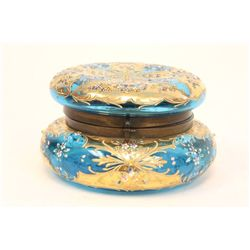 Floral & enamel blue glass hinged round jar