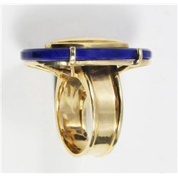 14kt gold & blue stone ring
