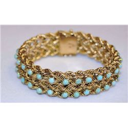 14kt gold bracelet with turquoise stones