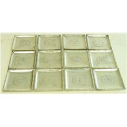 Set of 12 Chinese silver square coasters
