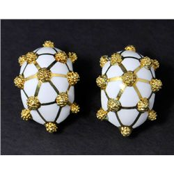 Pair 14kt gold David Webb enameled earrings
