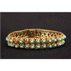 14kt gold channel bracelet with turquoise stones