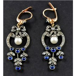 14kt gold, sapphire, diamond & pearl earrings
