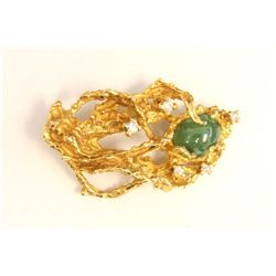 Jade & diamond 14kt gold pin