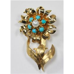 14kt yellow flower pin with pearls & turquoise