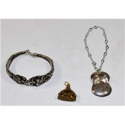 Group lot sterling & brass jewelry