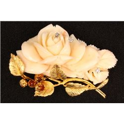 14kt gold & white coral floral pin