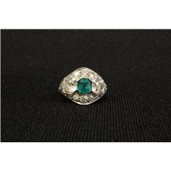 Platinum ring with diamonds & emerald