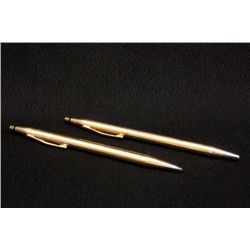 Matching pair 14kt gold Cross pen/pencil