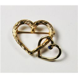 20th c. 14kt gold & sapphire double heart