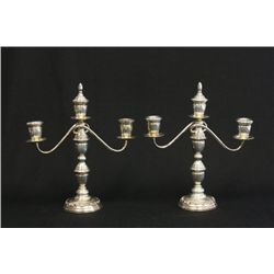 Pair 950 sterling silver weighted candelabrum