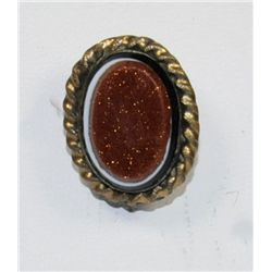 Gold Victorian stone pin