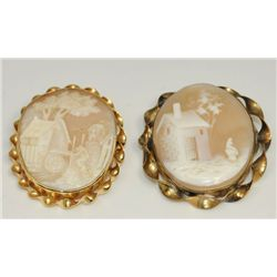 2 Cameo scenic pins in 14kt gold frame