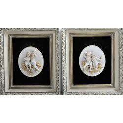 "Pair framed bisque double ""Angels"""