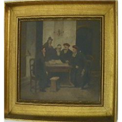Old Judaica Austrian oil painting signed
