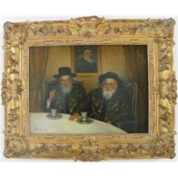 """Oil painting """"Two Rabbis Seated"""" artist signed"""