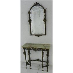 Bronze and marble top console and mirror