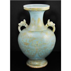 Republic era gold gilt blue glazed handled vase