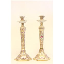 Pair hand painted Sevres candlesticks